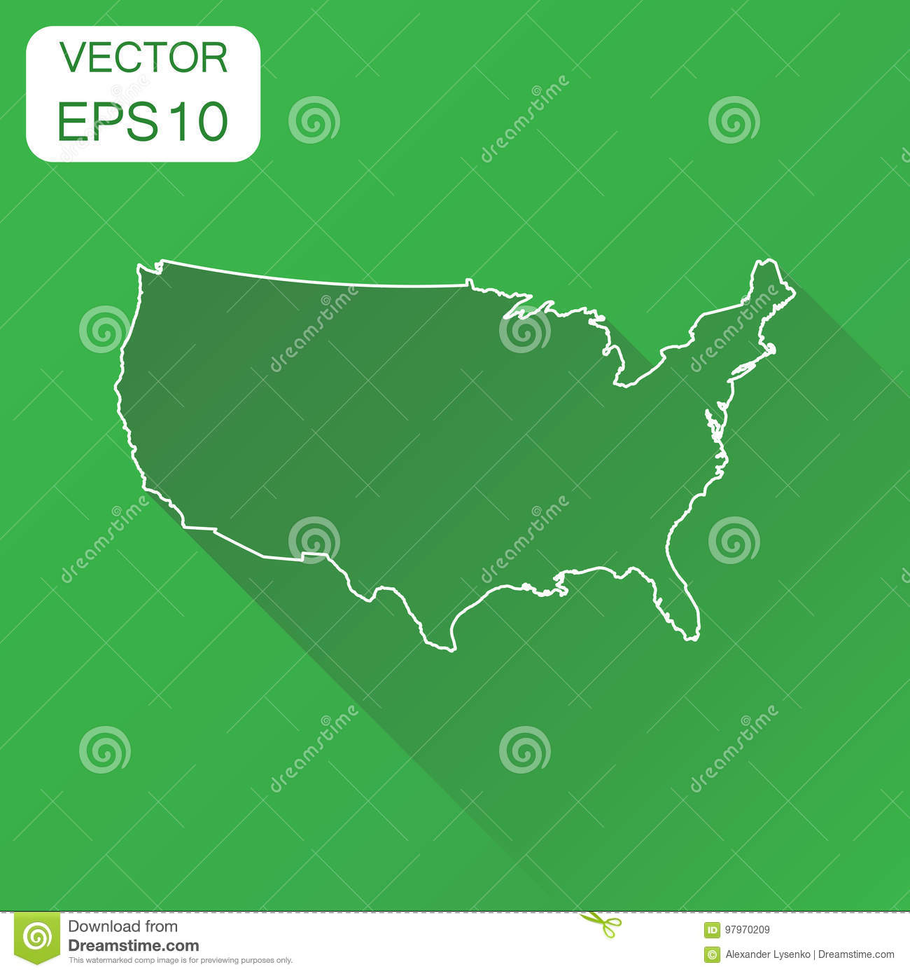 USA Map Icon Business Cartography Concept Outline