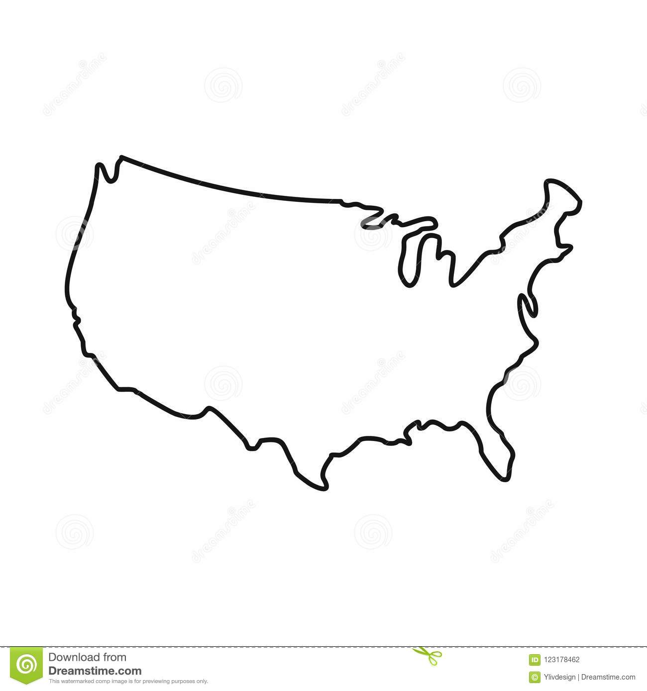 USA Map Icon, Outline Style Stock Illustration ...