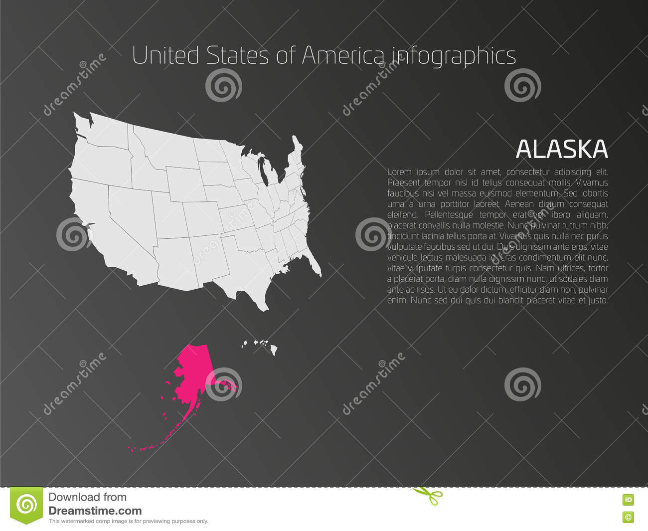 USA Map Infographics Template With Highlighted Alaska Stock ...