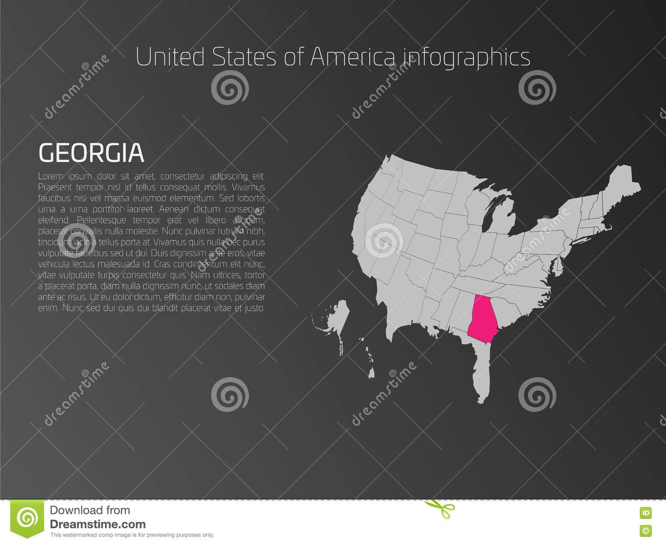 Usa Map Infographics Template With Highlighted Georgia Stock Vector