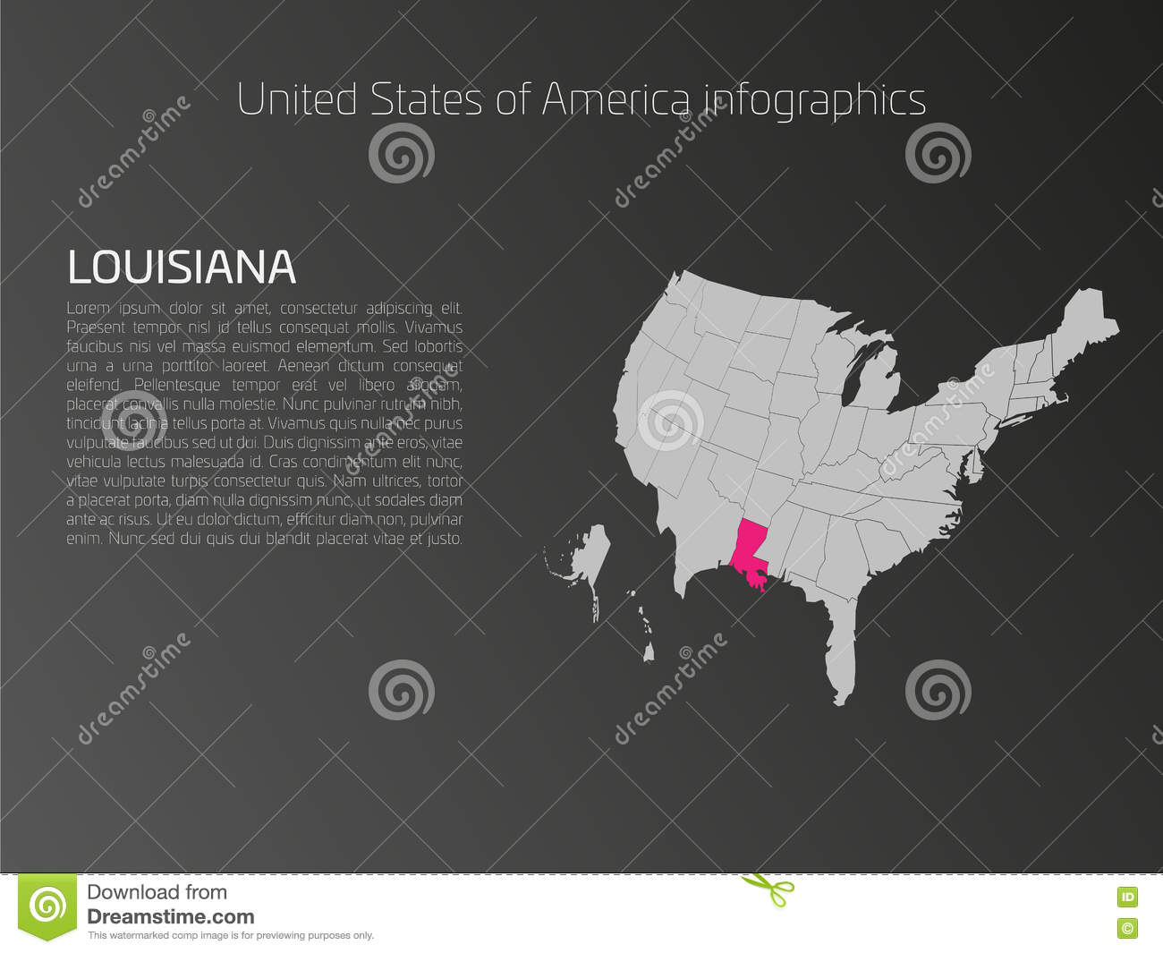Usa Map Infographics Template With Highlighted Louisiana Stock