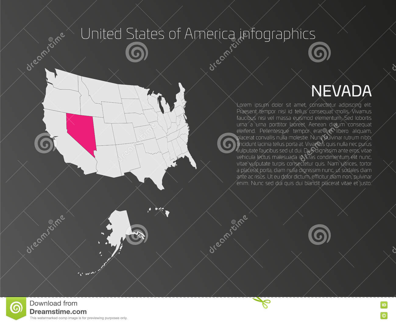 USA Map Infographics Template With Highlighted Nevada Stock Vector - Map of us just states