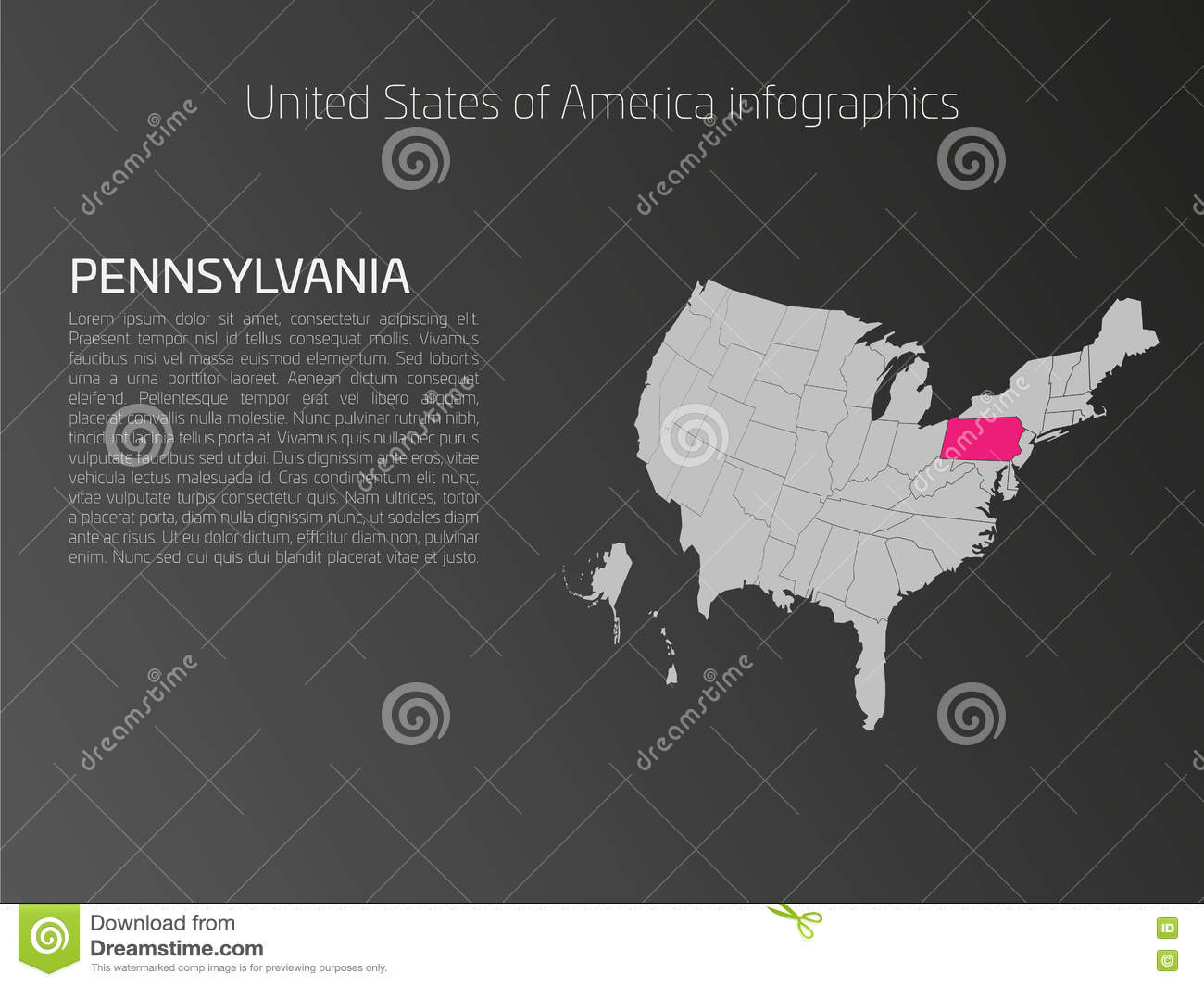 USA Map Infographics Template With Highlighted Pennsylvania ...