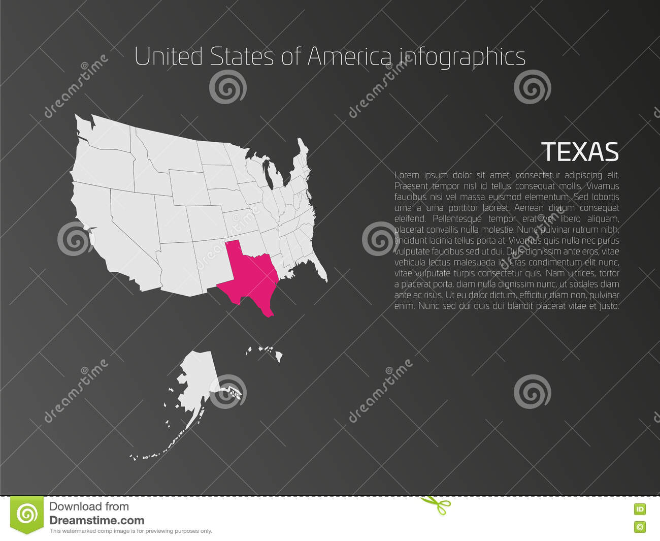 USA Map Infographics Template With Highlighted Texas Stock ...