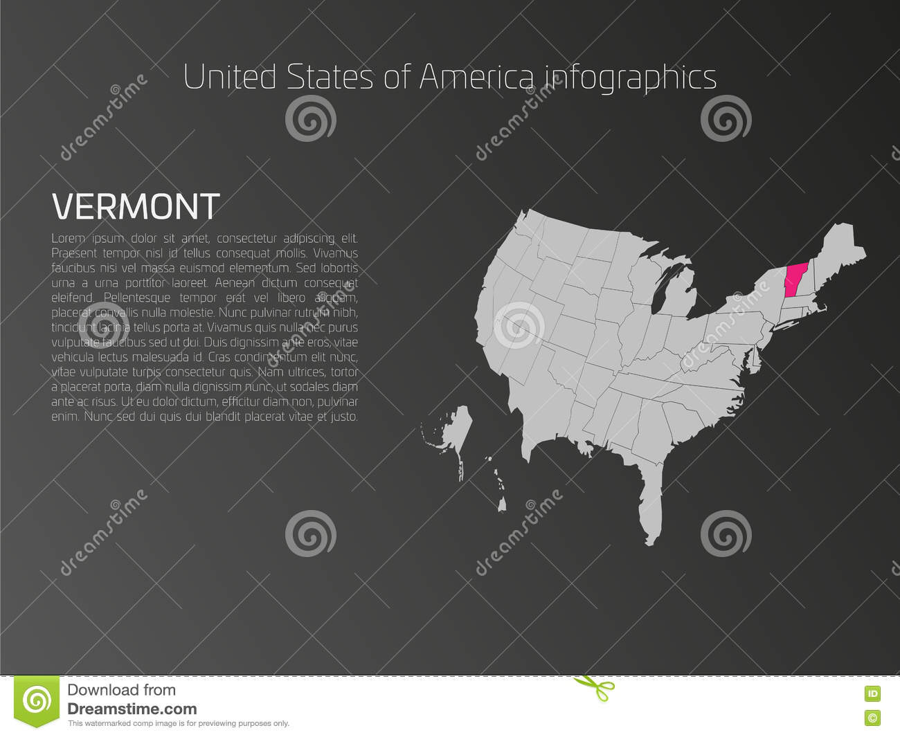 Discover The USA Map Vermont Red Thumbtack Over Vermont State USA - Vermont on the us map