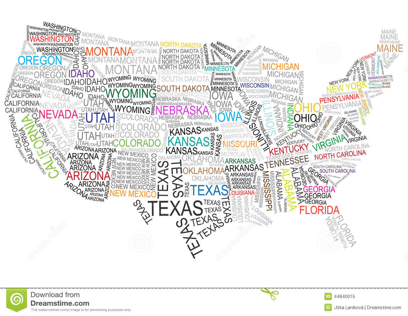 united states map with words Usa Map Made Of Words Stock Illustration Illustration Of Colored
