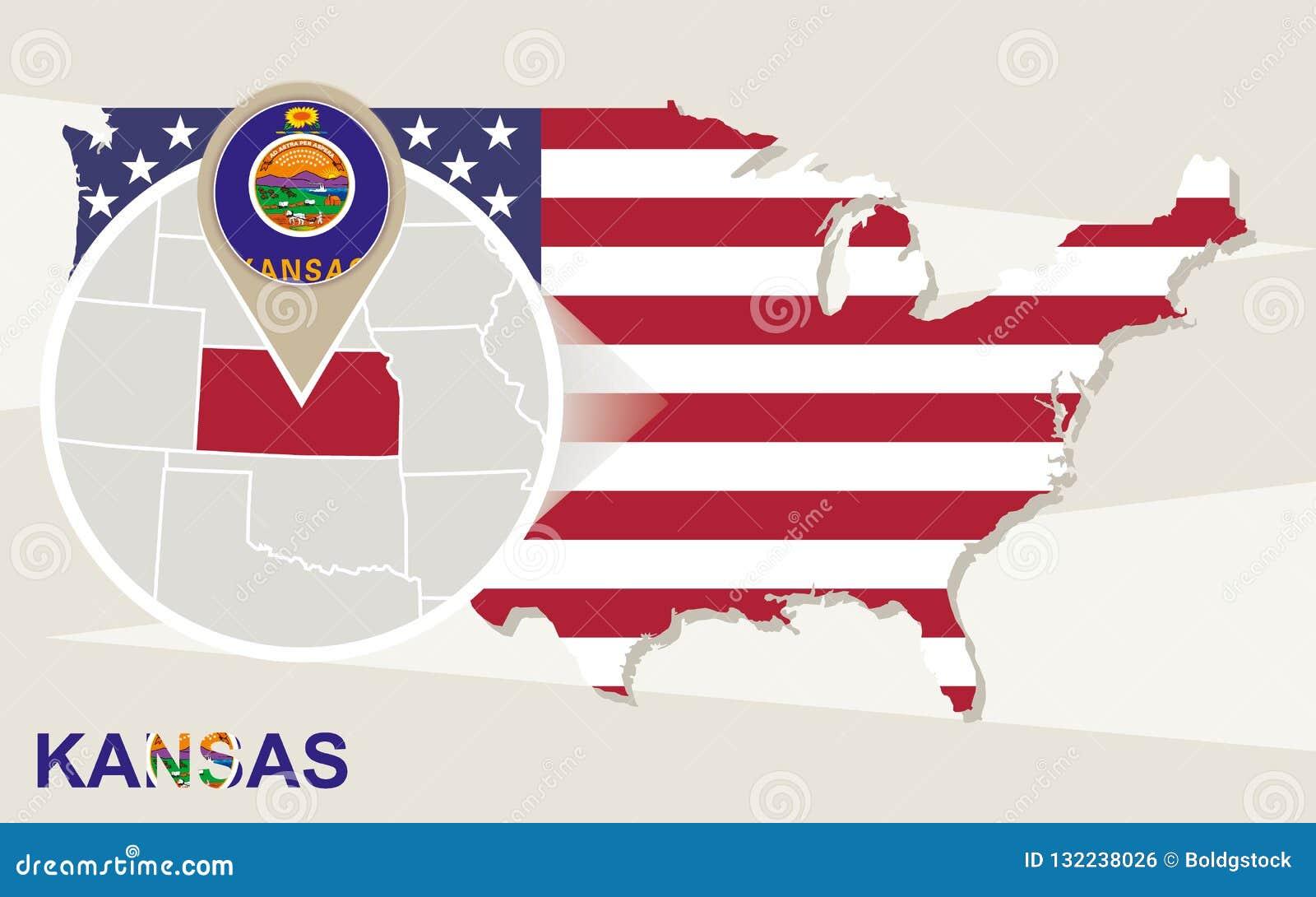 Usa Map With Magnified Kansas State Kansas Flag And Map Stock