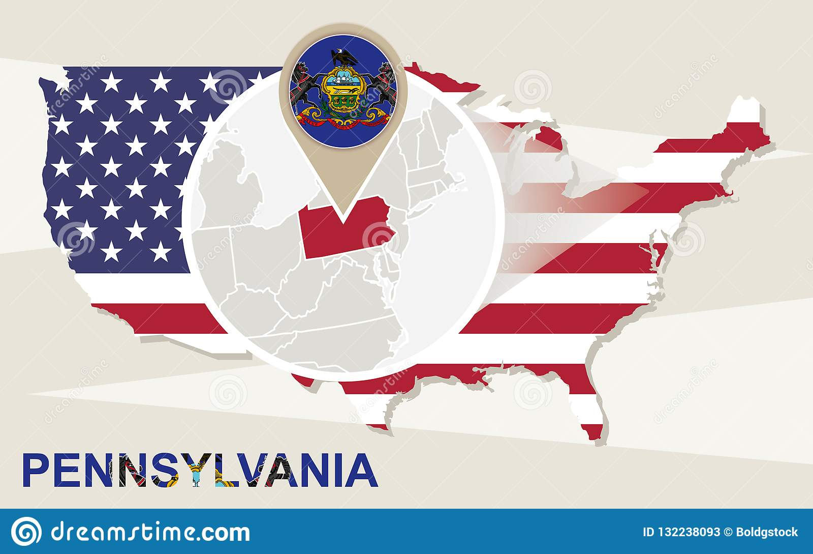 Pennsylvania In Usa Map.Usa Map With Magnified Pennsylvania State Pennsylvania Flag And