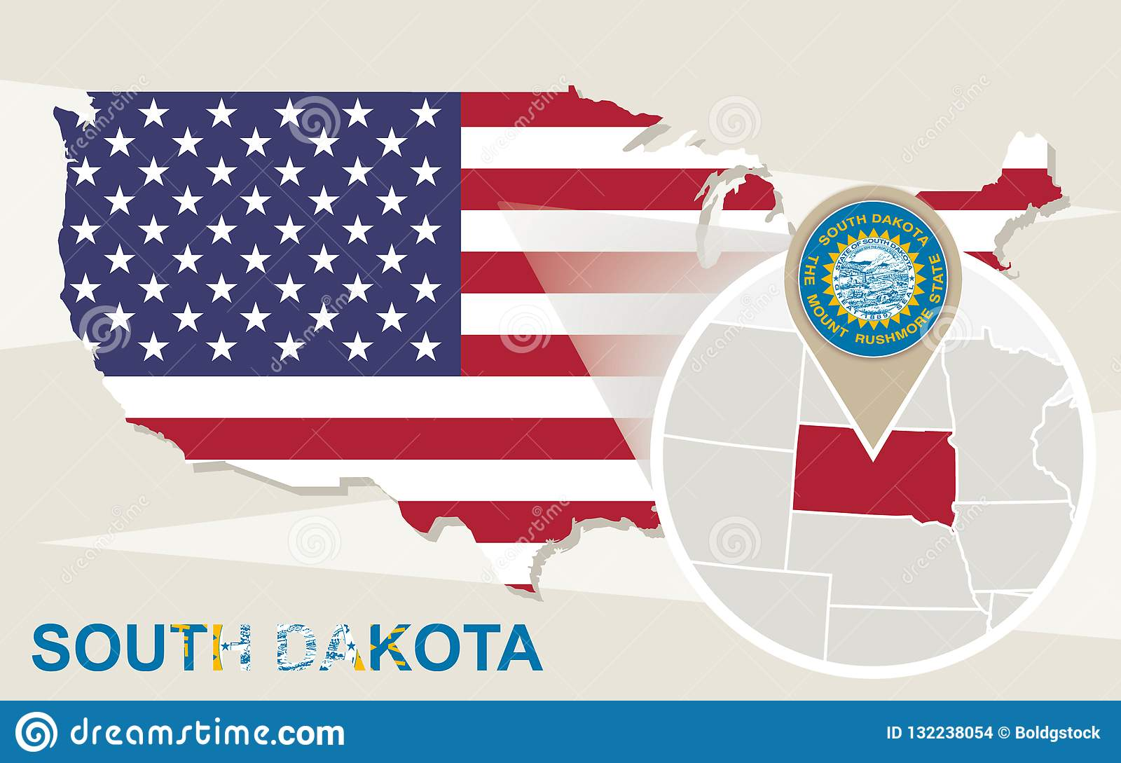 Usa Map With Magnified South Dakota State South Dakota Flag And