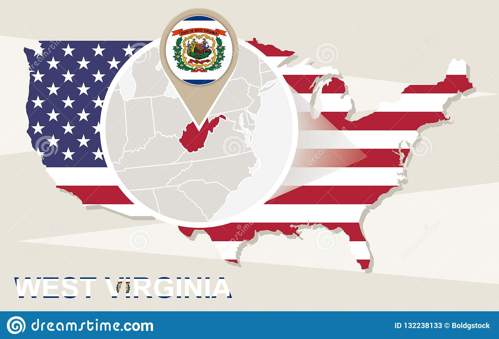 USA Map With Magnified West Virginia State. West Virginia ...