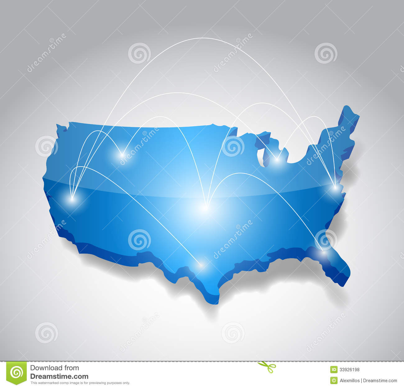 Usa Map Network Connection Concept Illustration Stock Illustration