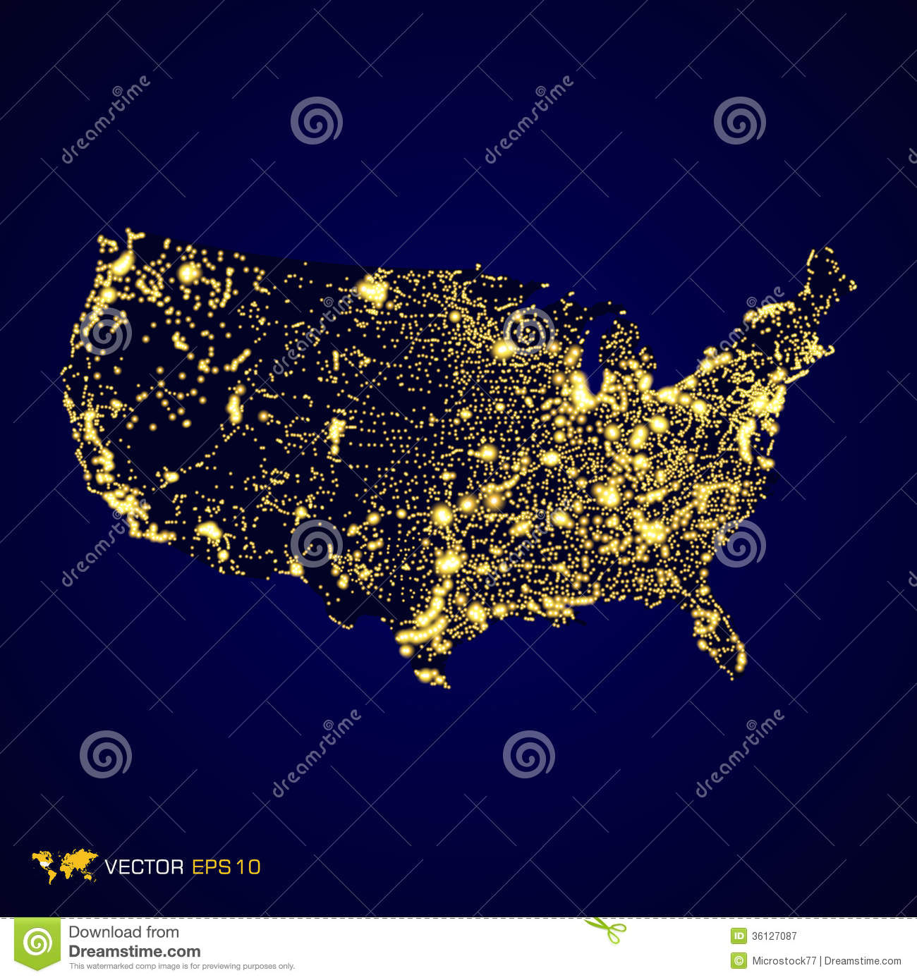 Usa map night stock vector. Illustration of isolated - 36127087