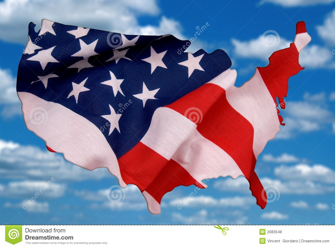 USA Map Outline With A Flag Photo Illustration Stock Photo - Image ...