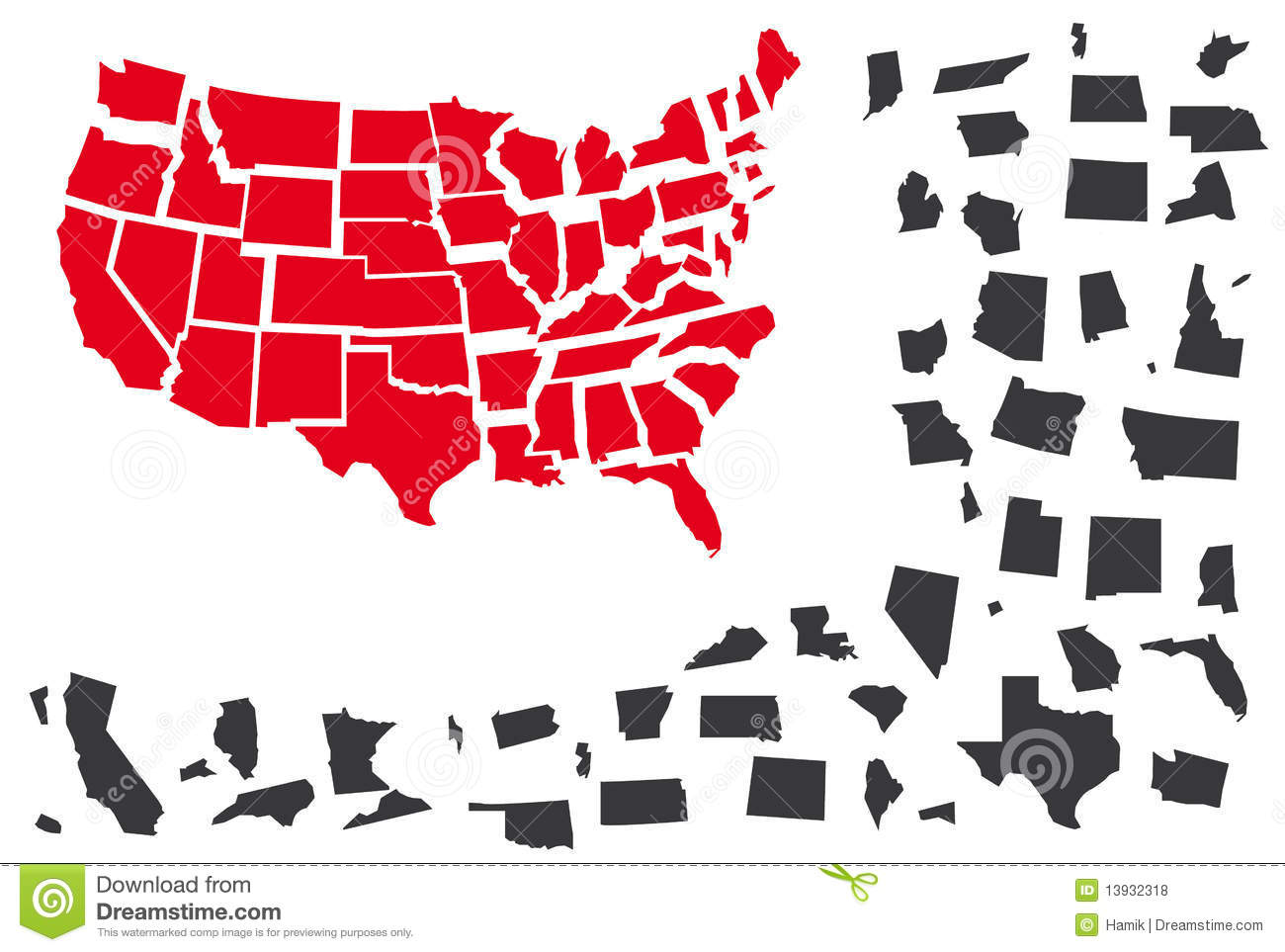 Map Separated States United Us