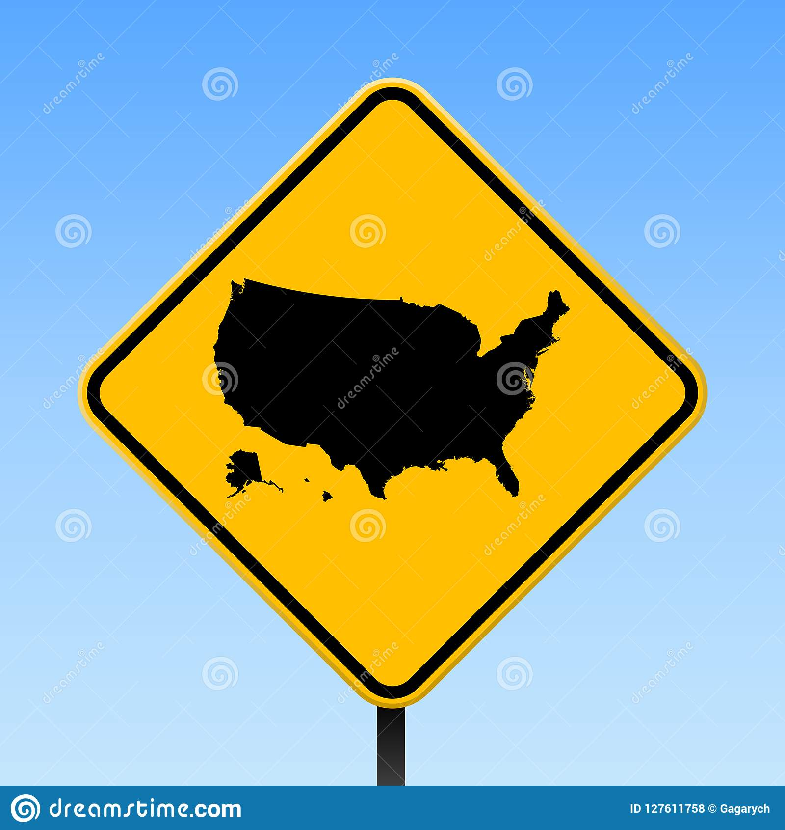 USA map on road sign. stock vector. Illustration of ...