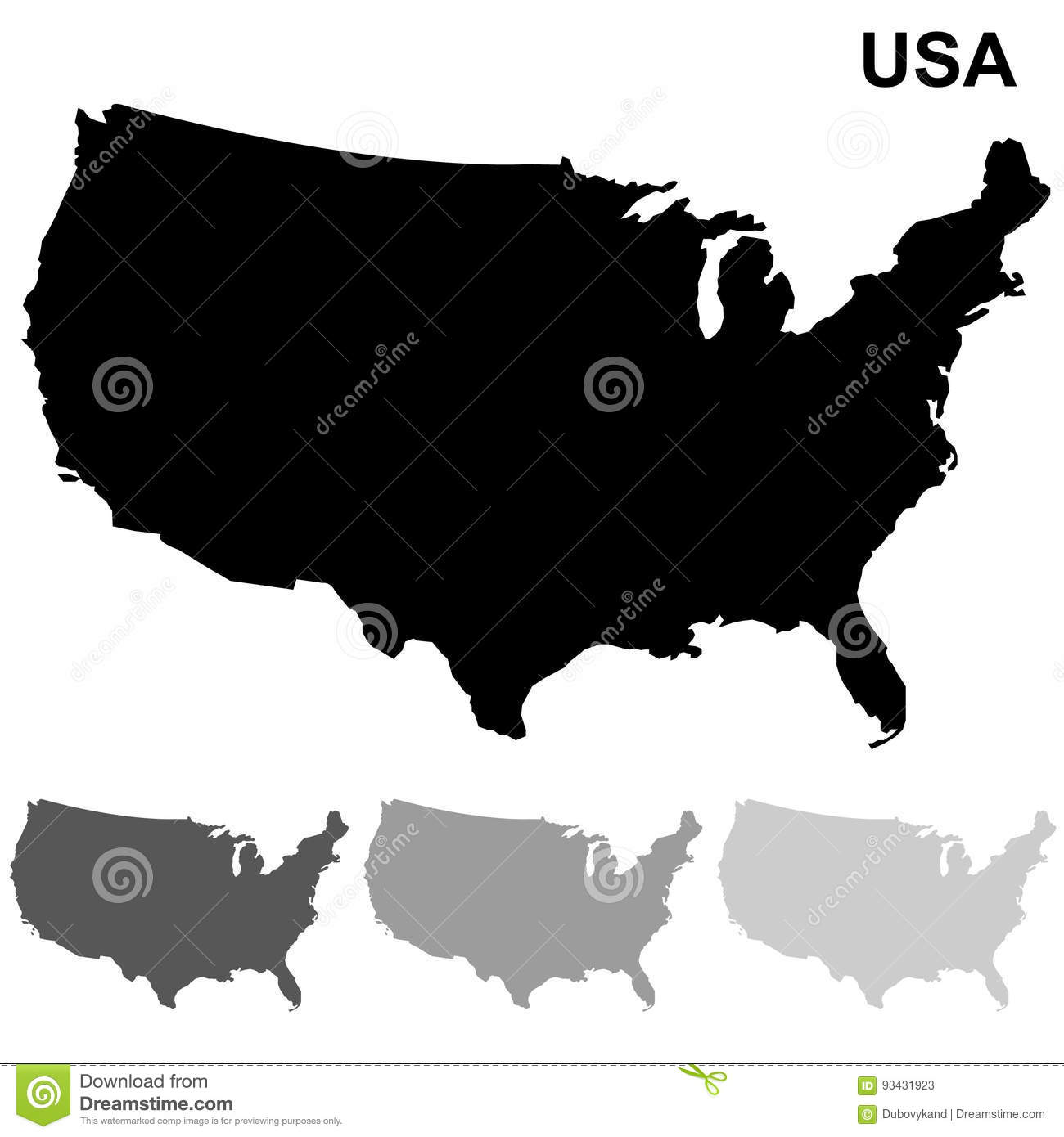 USA Map Set stock vector. Illustration of outline, american - 93431923