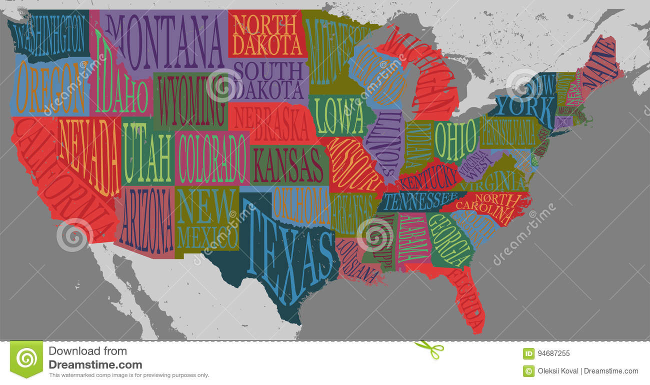 Poster Of Usa Map.Usa Map With States Pictorial Geographical Poster Of America Stock