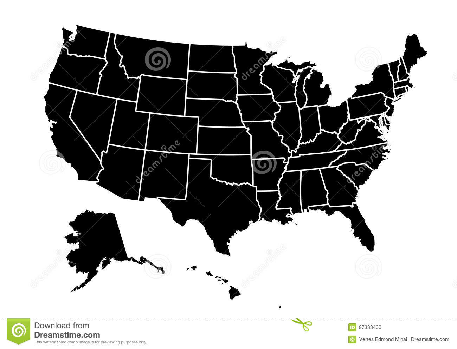 Usa Map Vector Illustration Stock Vector Illustration Of Oregon