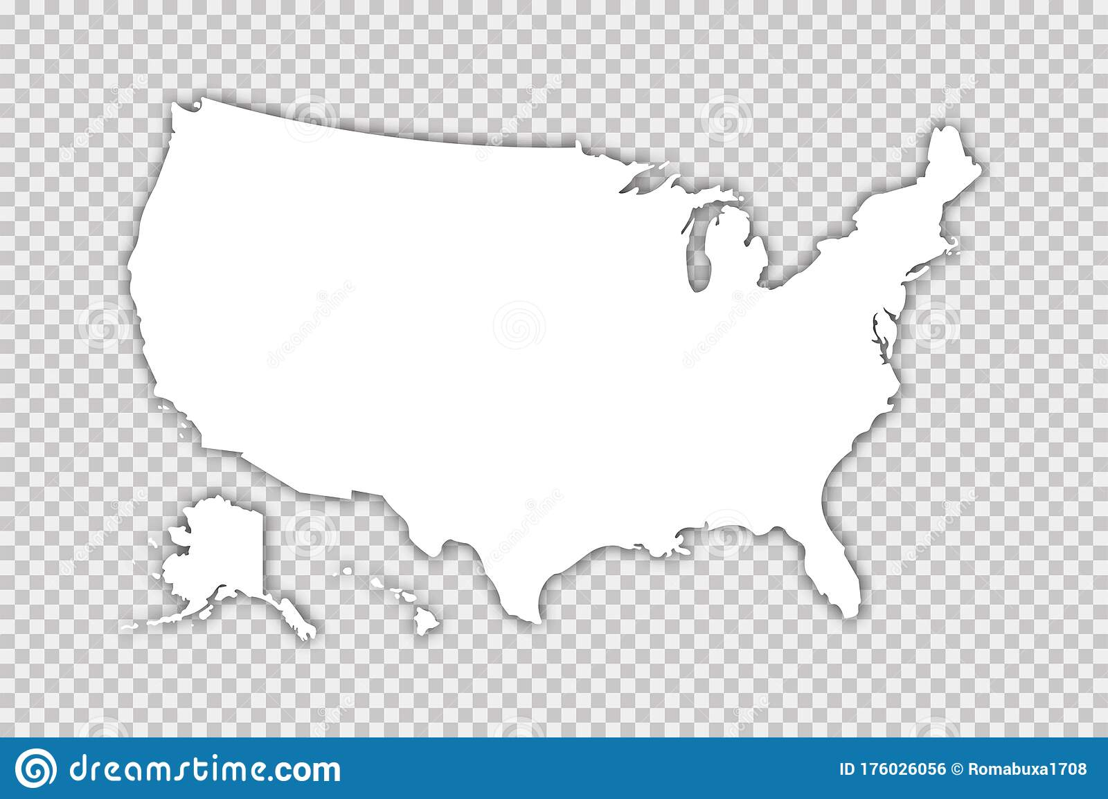 Usa Map Vector Isolated Illustration With Shadow On