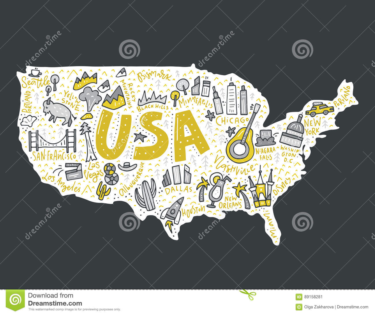 Usa Map Vector Stock Vector Illustration Of Poster Niagara 89158281 - Cartoon-map-of-the-us