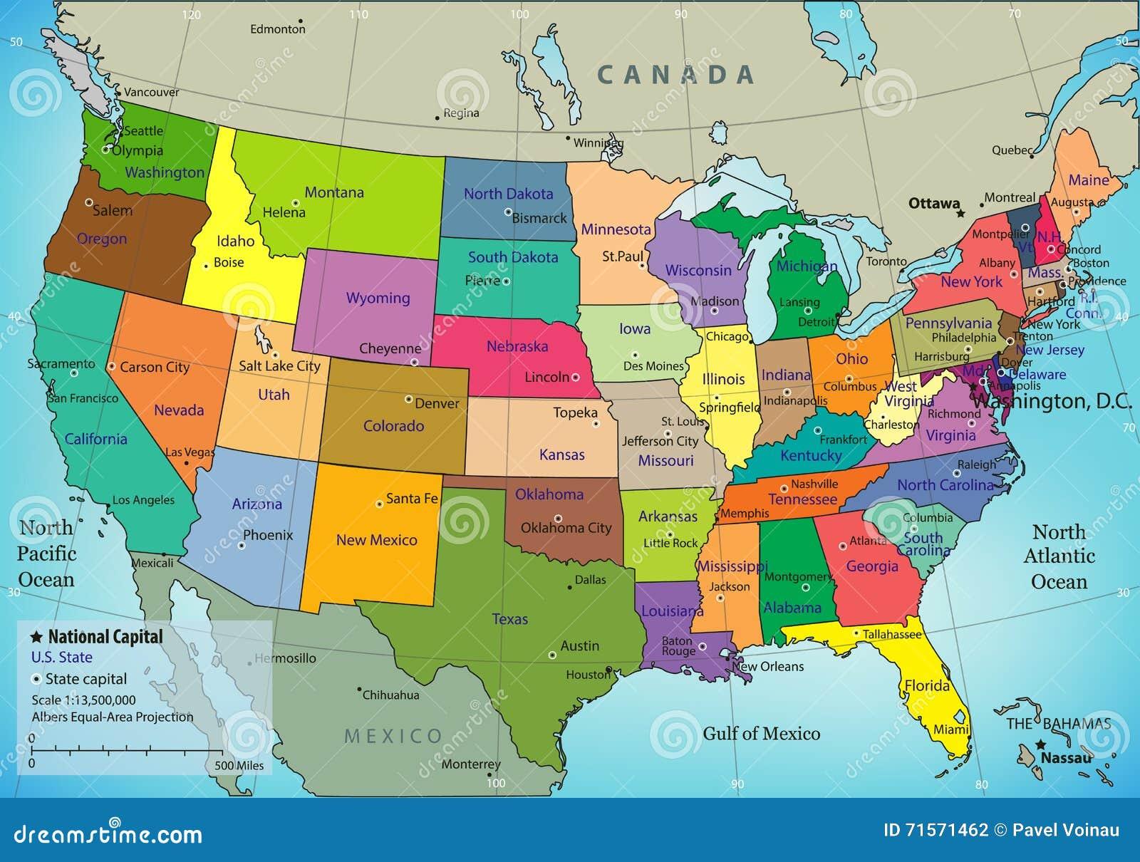 Usa Mapa Z Panstwami Federalnymi Wszystkie Stany Sa Selectable