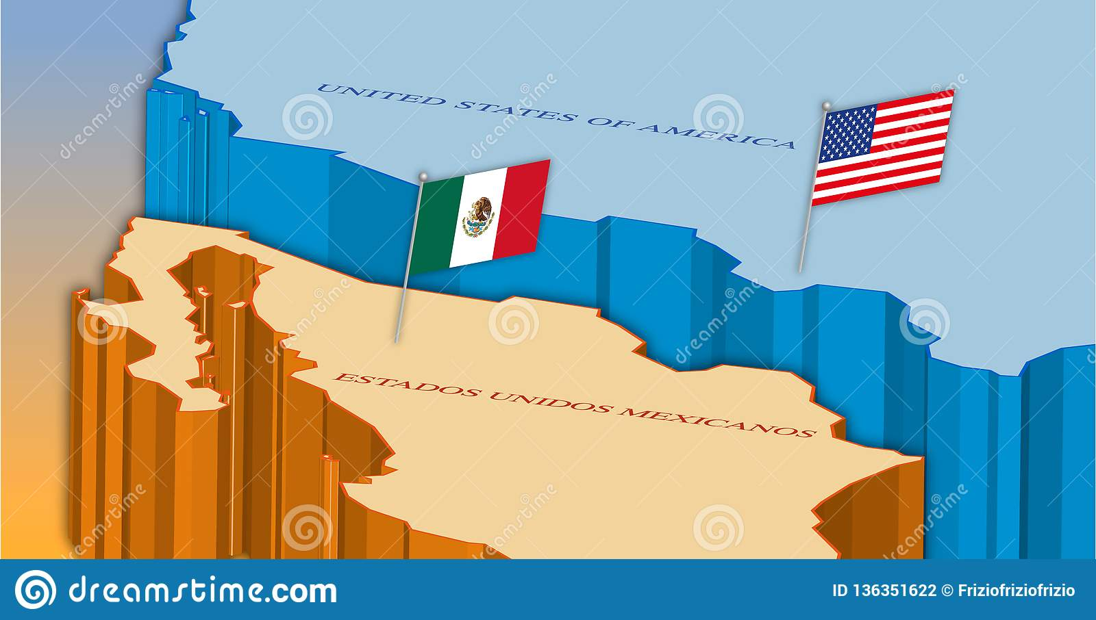 Usa And Mexico Border Map With National Flags Stock Vector