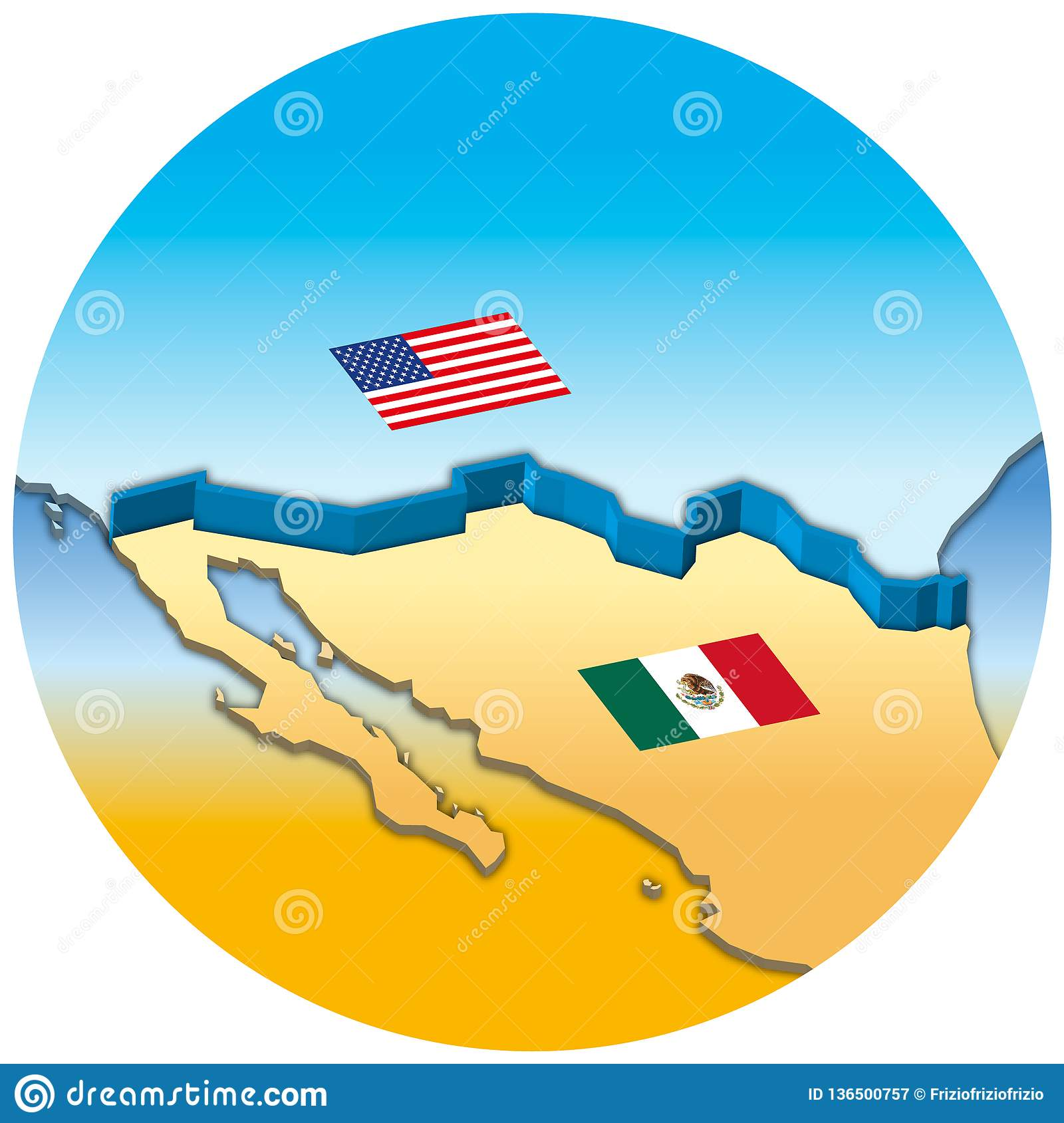 Usa And Mexico Border Wall Map With National Flags Stock ...