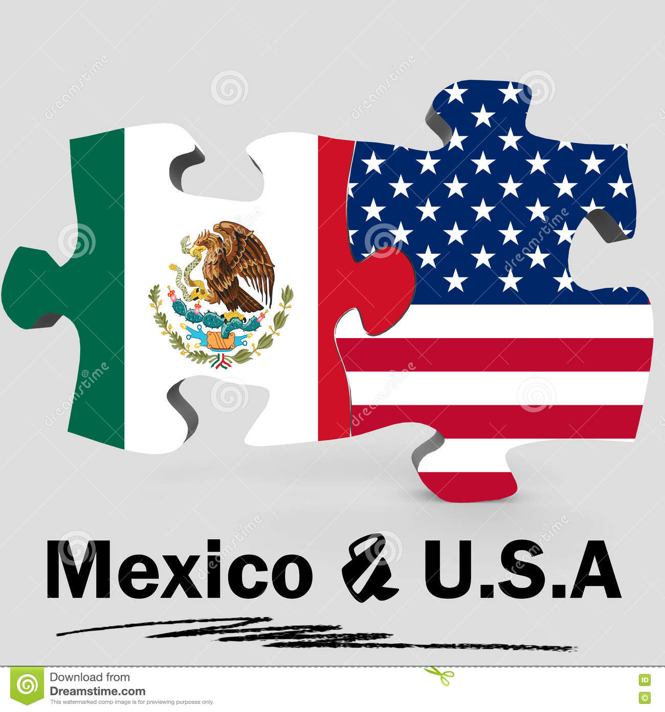 USA And Mexico Flags In Puzzle Stock Illustration Image - Usa and mexico