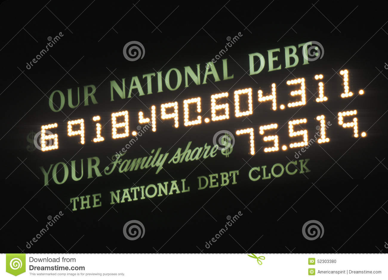 USA National Debt and National Debt Clock in New York City counts money owed by USA
