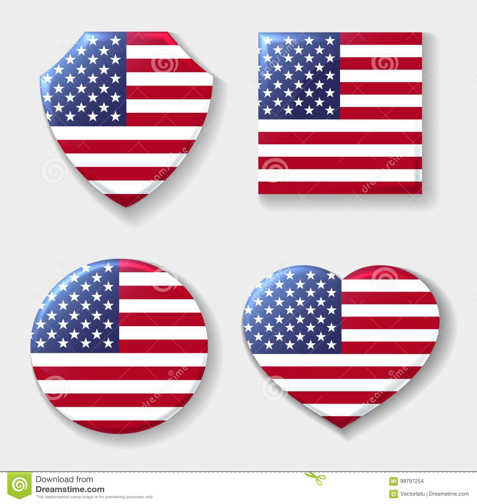 Usa National Flag Emblem Set Stock Vector Illustration Of American