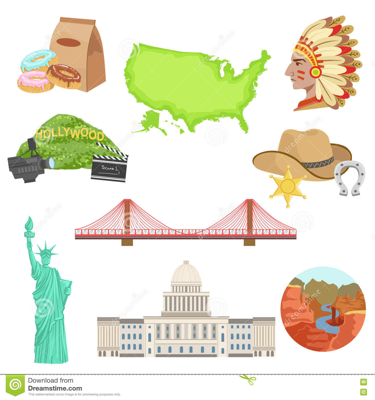 Head statue liberty stock illustrations 60 head statue liberty usa national symbols set of items objects representing united states of america on white biocorpaavc Images