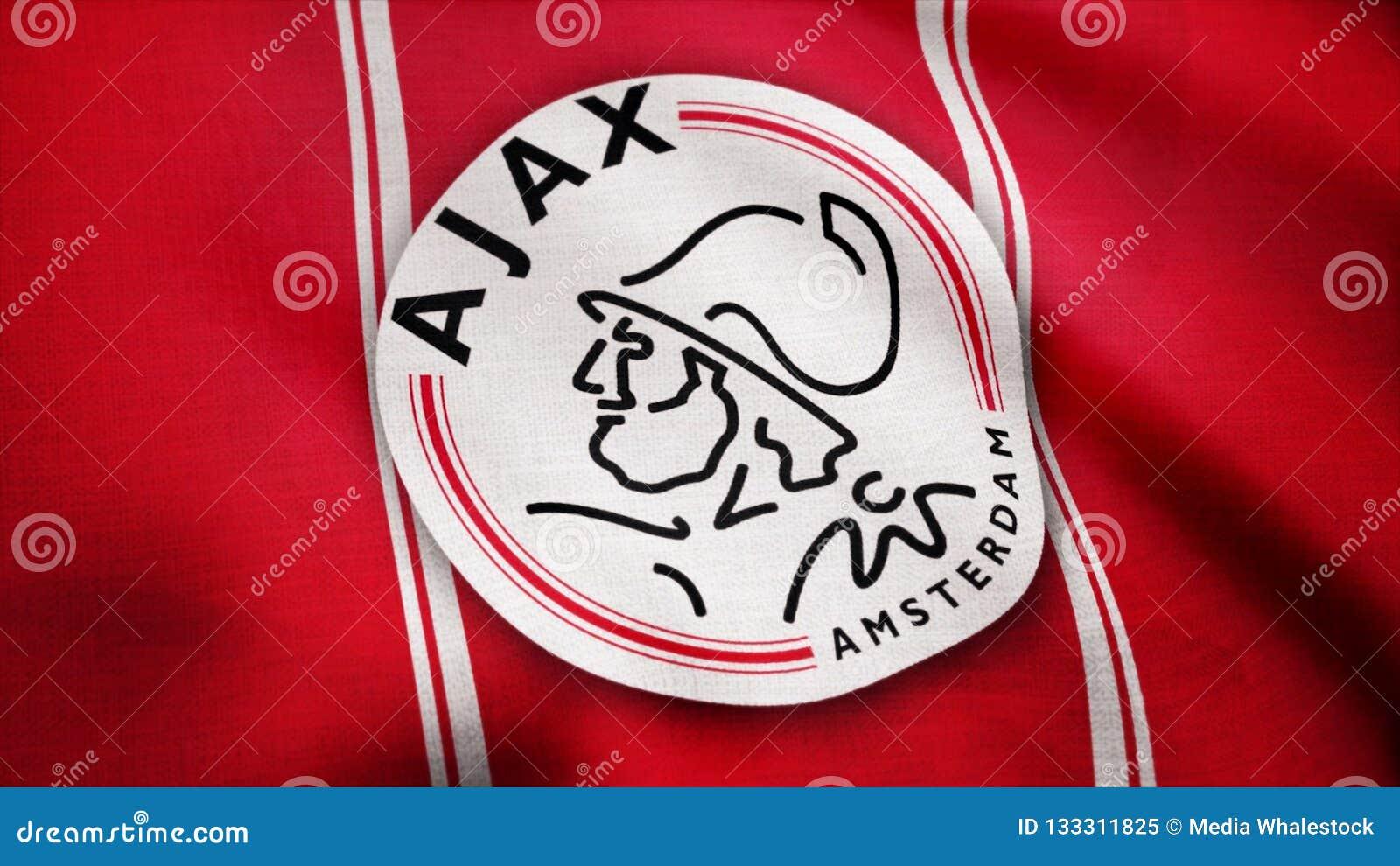 USA - NEW YORK, 12 August 2018: Ajax FC flag is waving. Close-up of waving flag with AFC Ajax football club logo