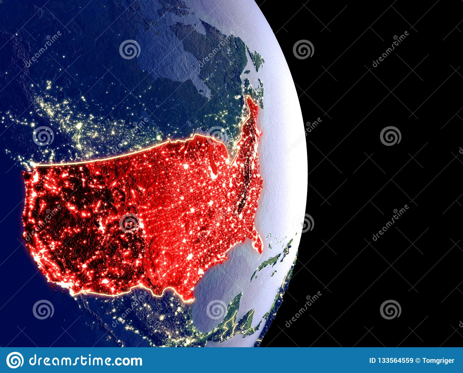 USA on night Earth stock illustration. Illustration of space ... Satellite Map Of Usa At Night on canada at night satellite, world map at night satellite, us map at night satellite,