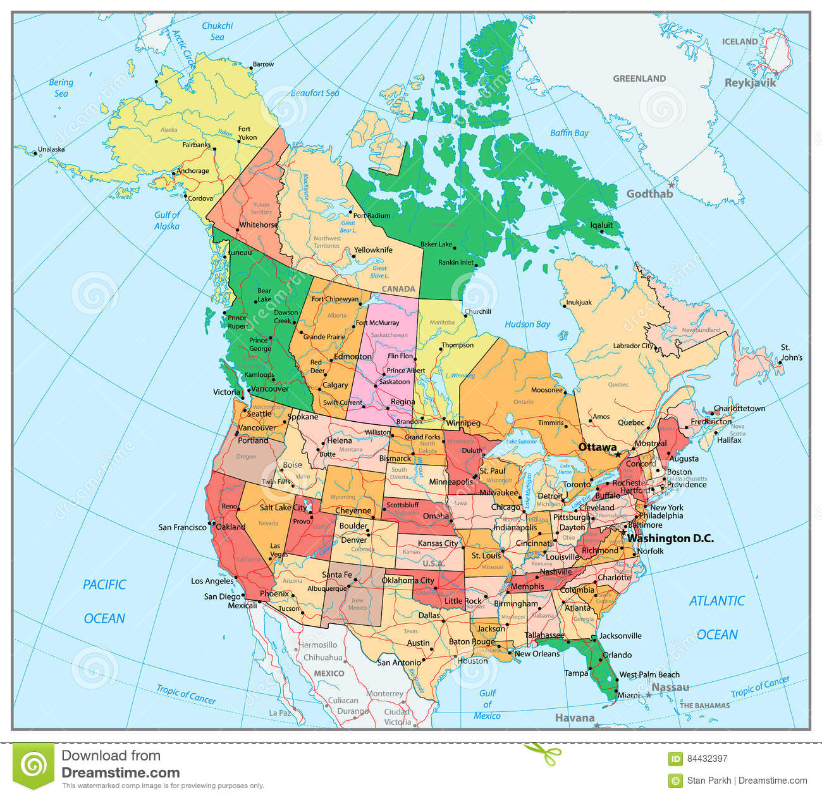 Karta Usa Sjoar.Usa Och Kanada Stor Detaljerad Politisk Oversikt Med Tillstand