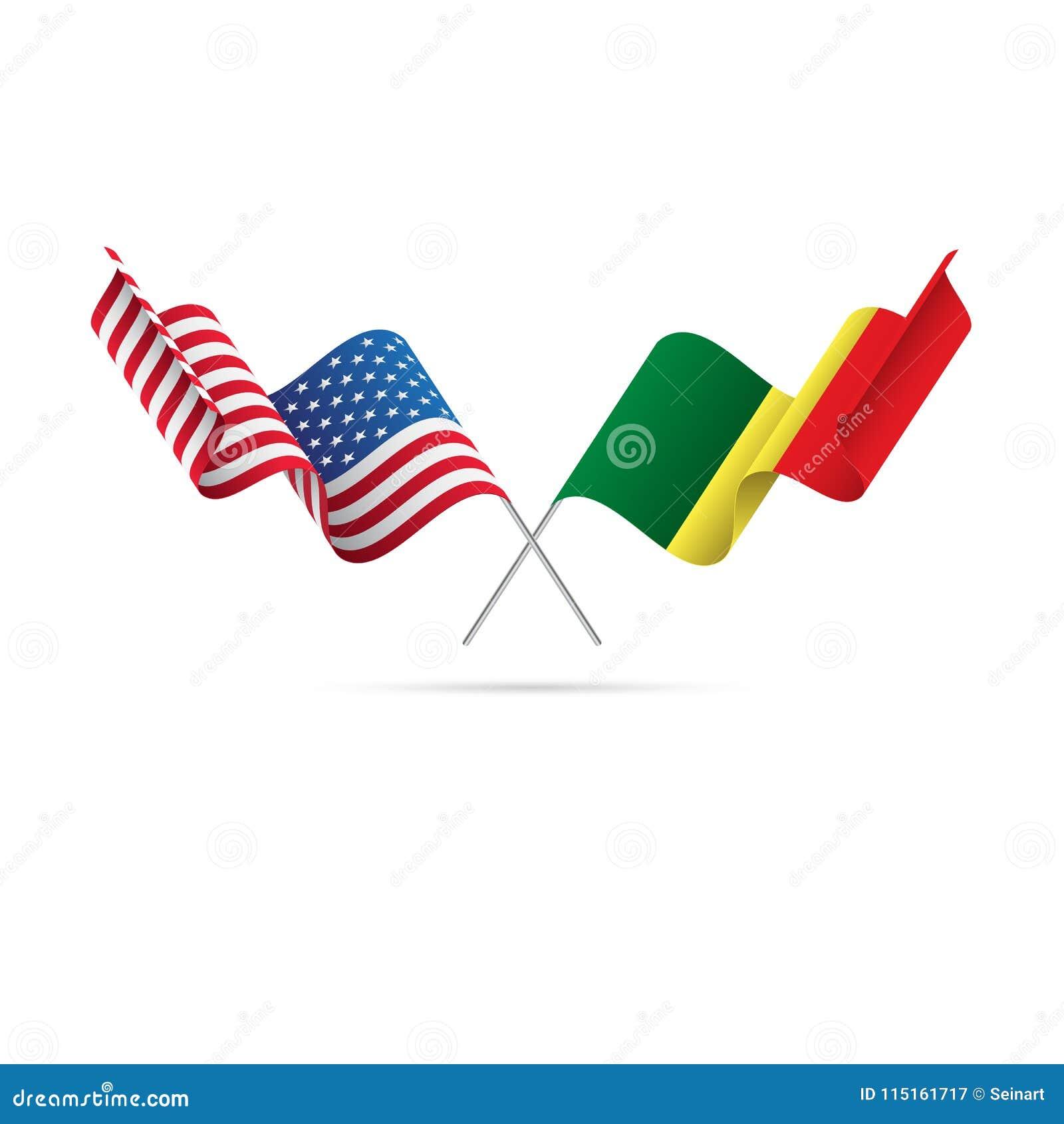 USA och Senegal flaggor också vektor för coreldrawillustration