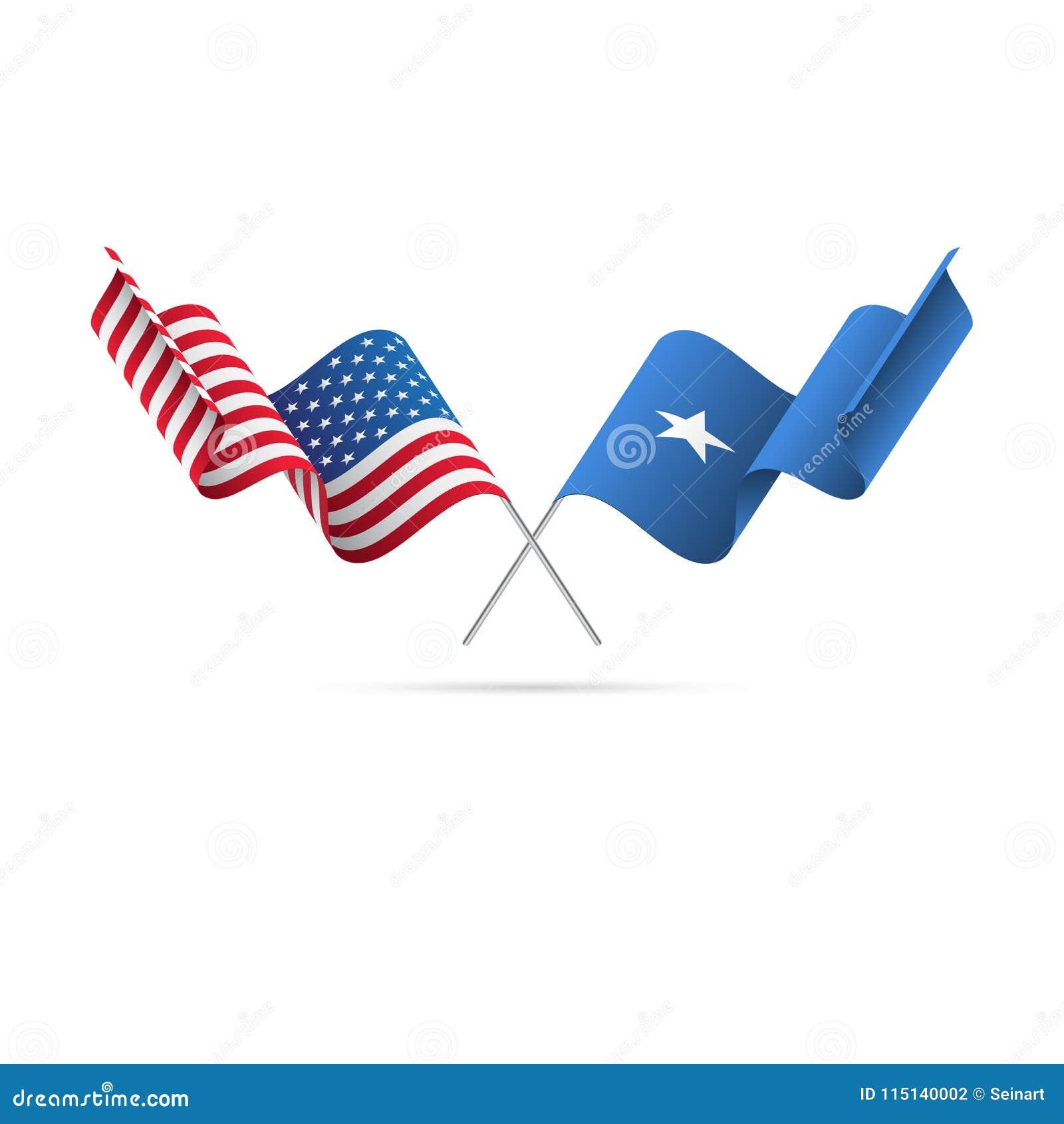 USA och Somalia flaggor också vektor för coreldrawillustration