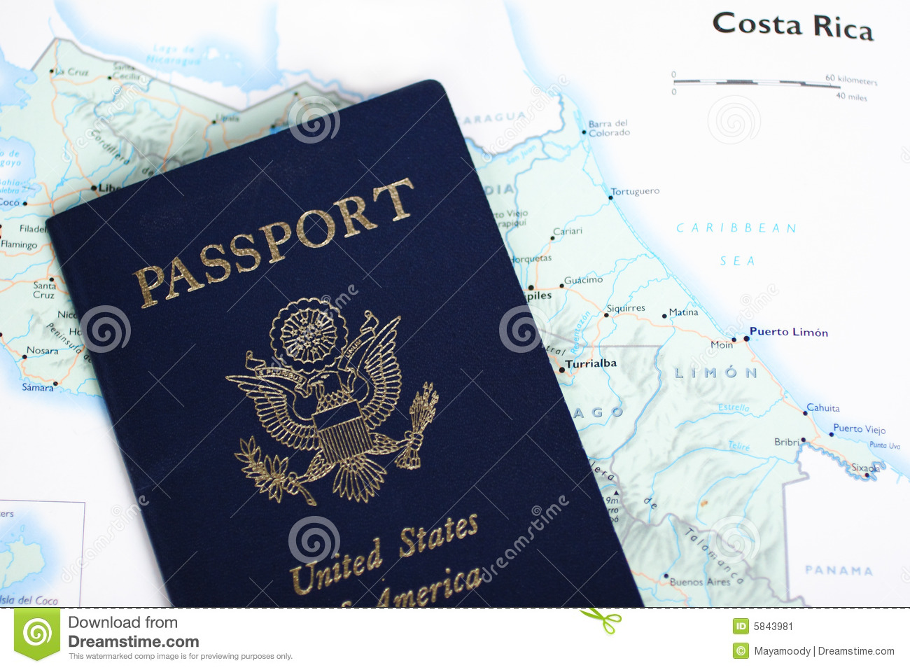 Costa Rica Map Stock Images Image 6438804
