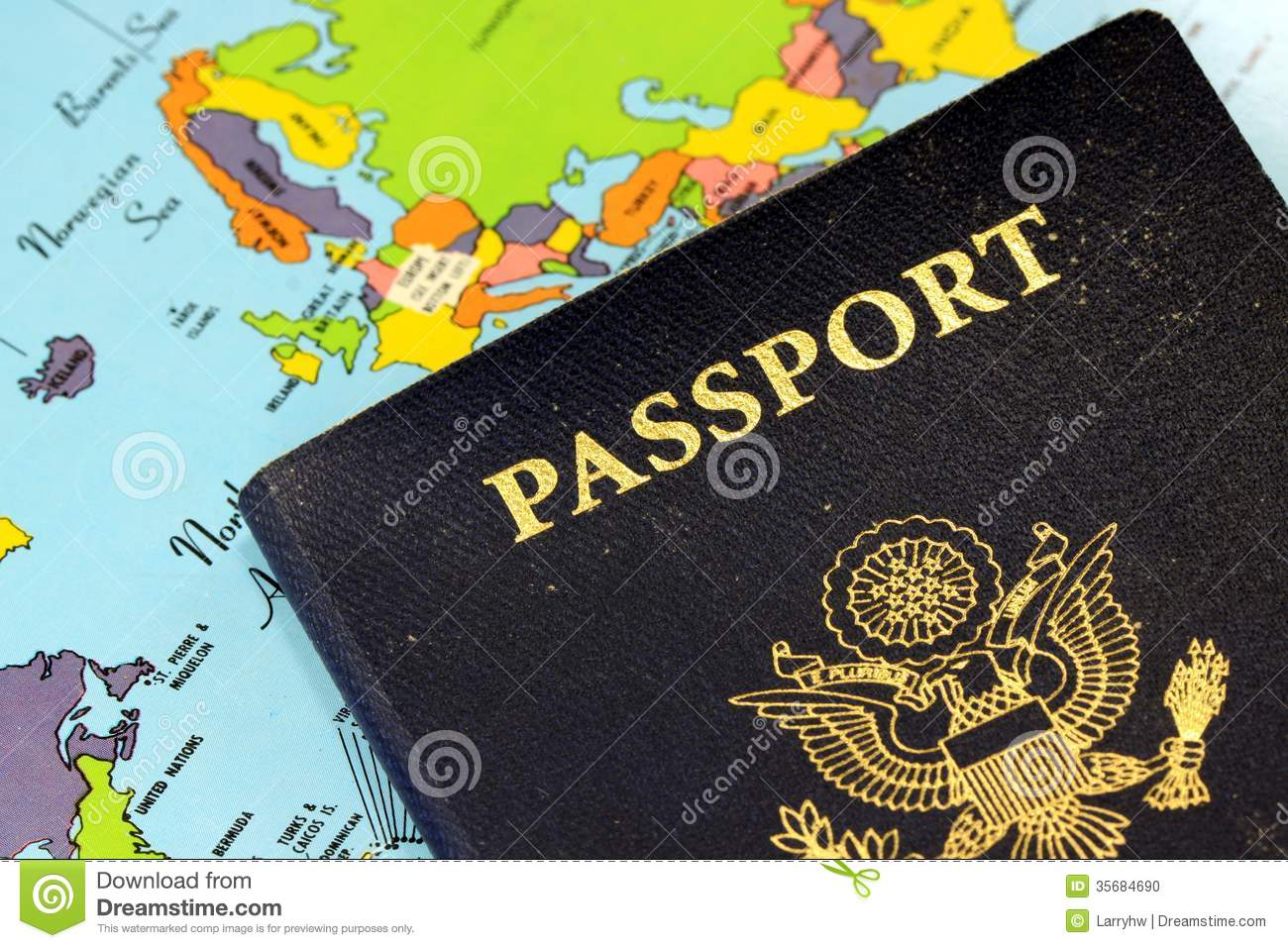Usa Passport With World Map Stock Photo Image 35684690