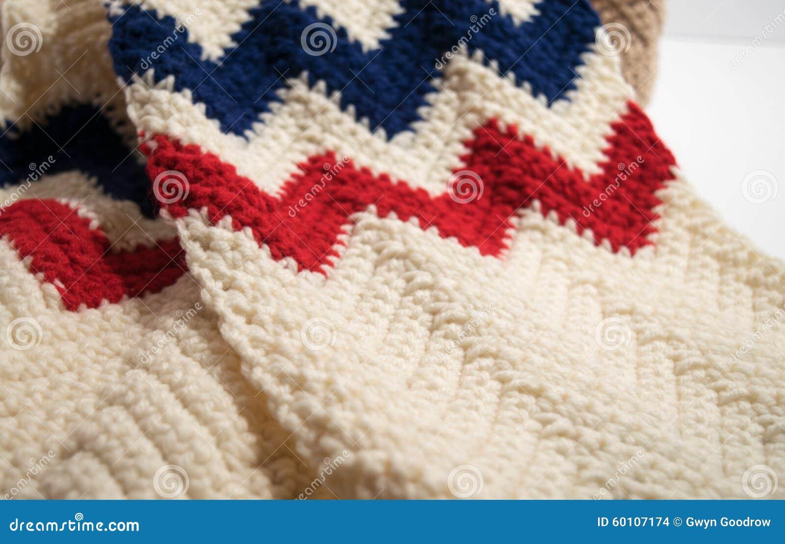 USA Patriotic Scarf In Single Crochet Stitches Stock Photo - Image ...