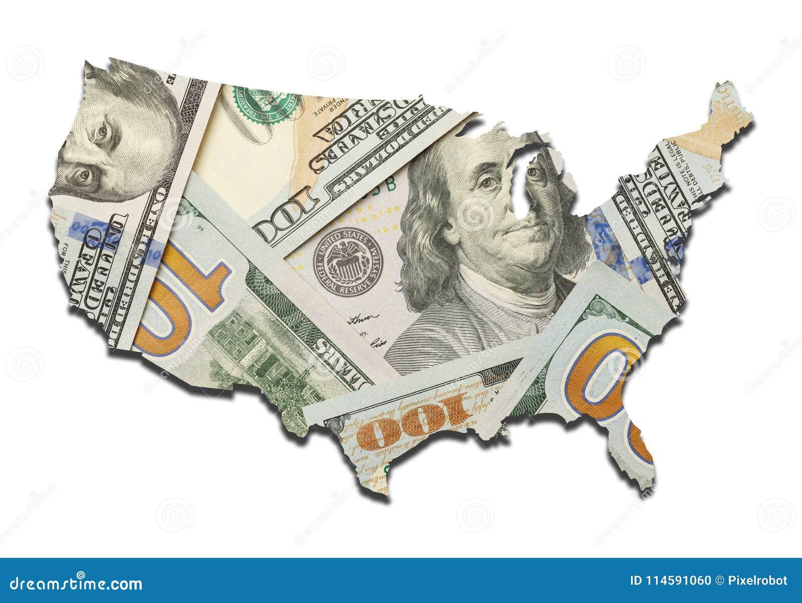 USA pieniądze mapa