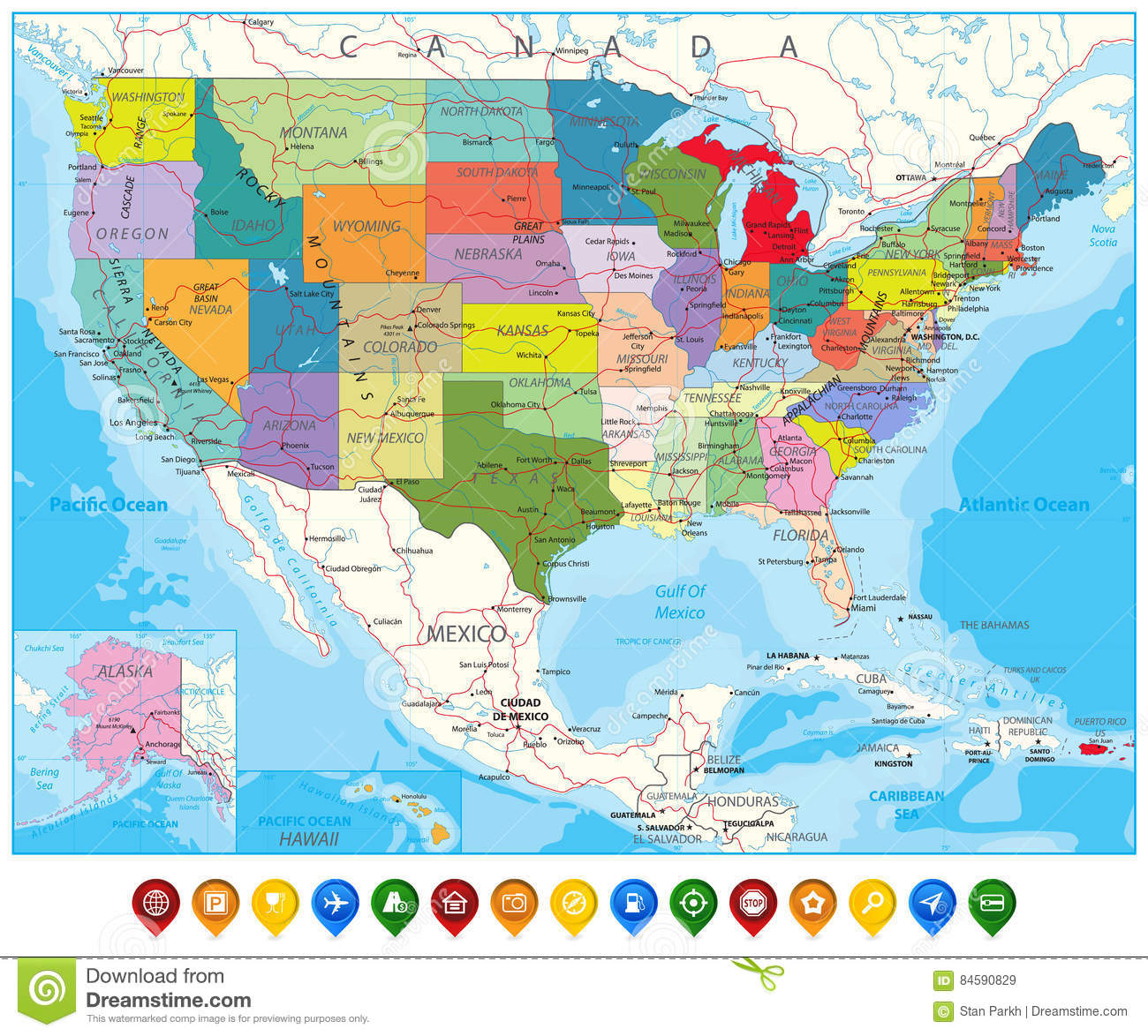 USA Political Road Map And Map Pointers Stock Vector - Illustration ...