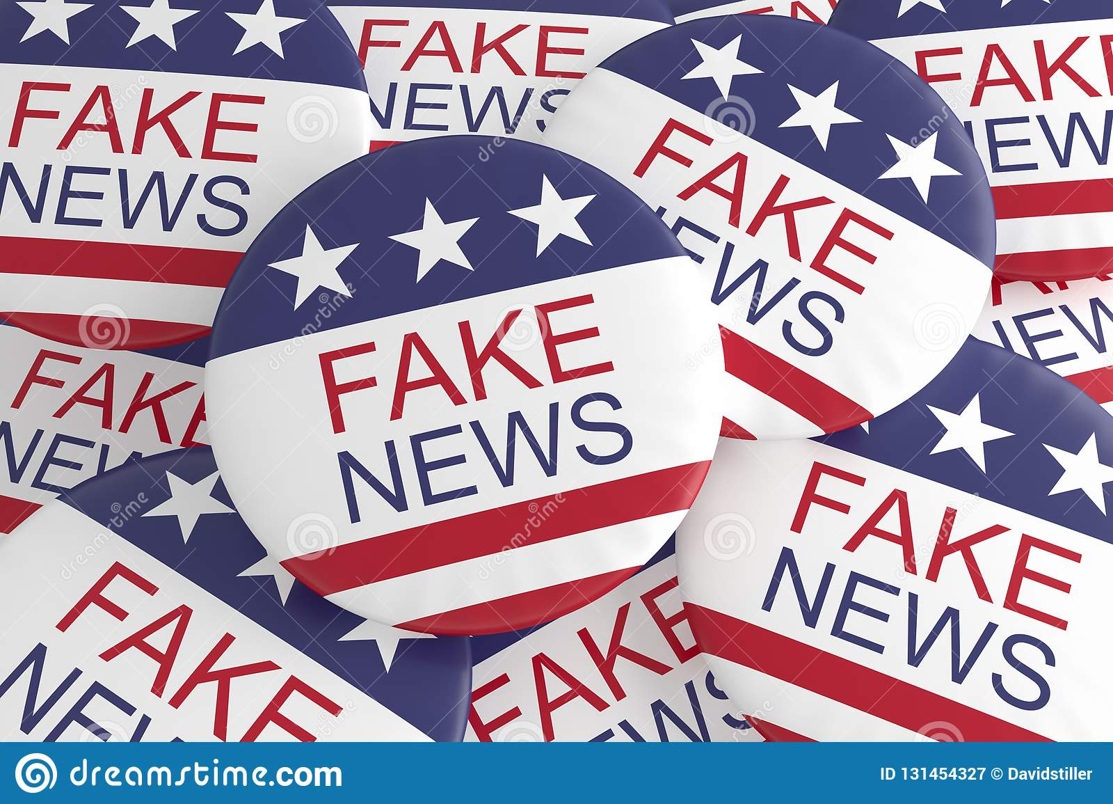USA Politics Media Buttons: Pile Of US Flag Fake News Badges 3d ...