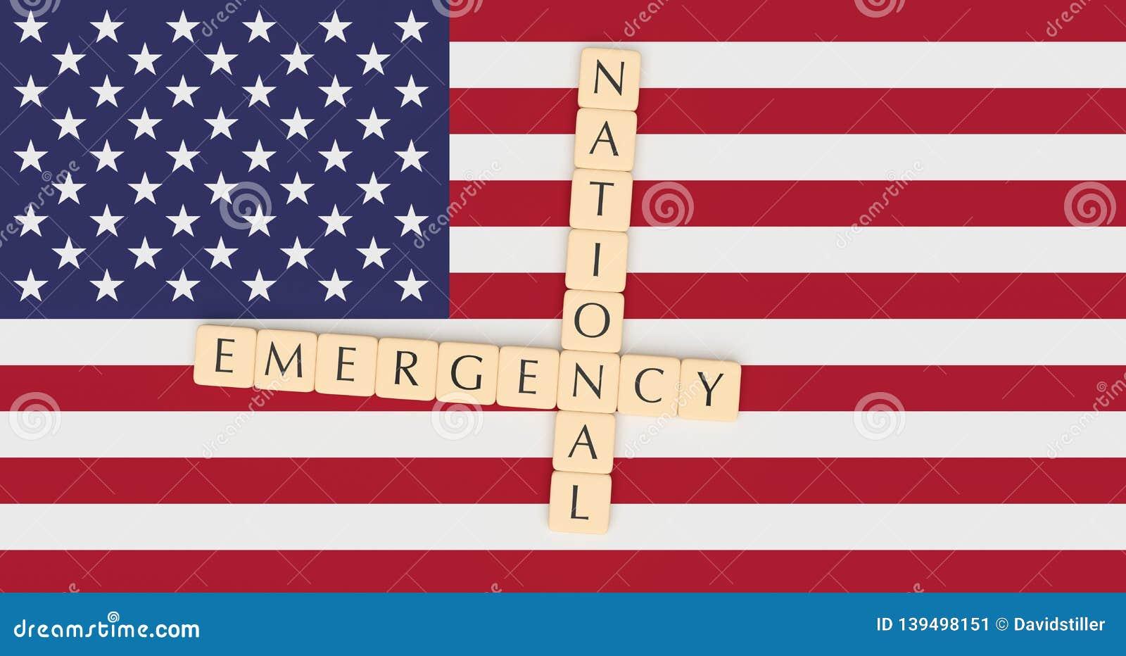 Letter Tiles National Emergency On US Flag, 3d illustration