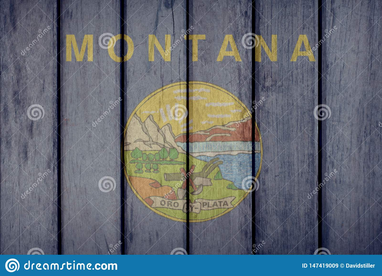 US State Montana Flag Wooden Fence