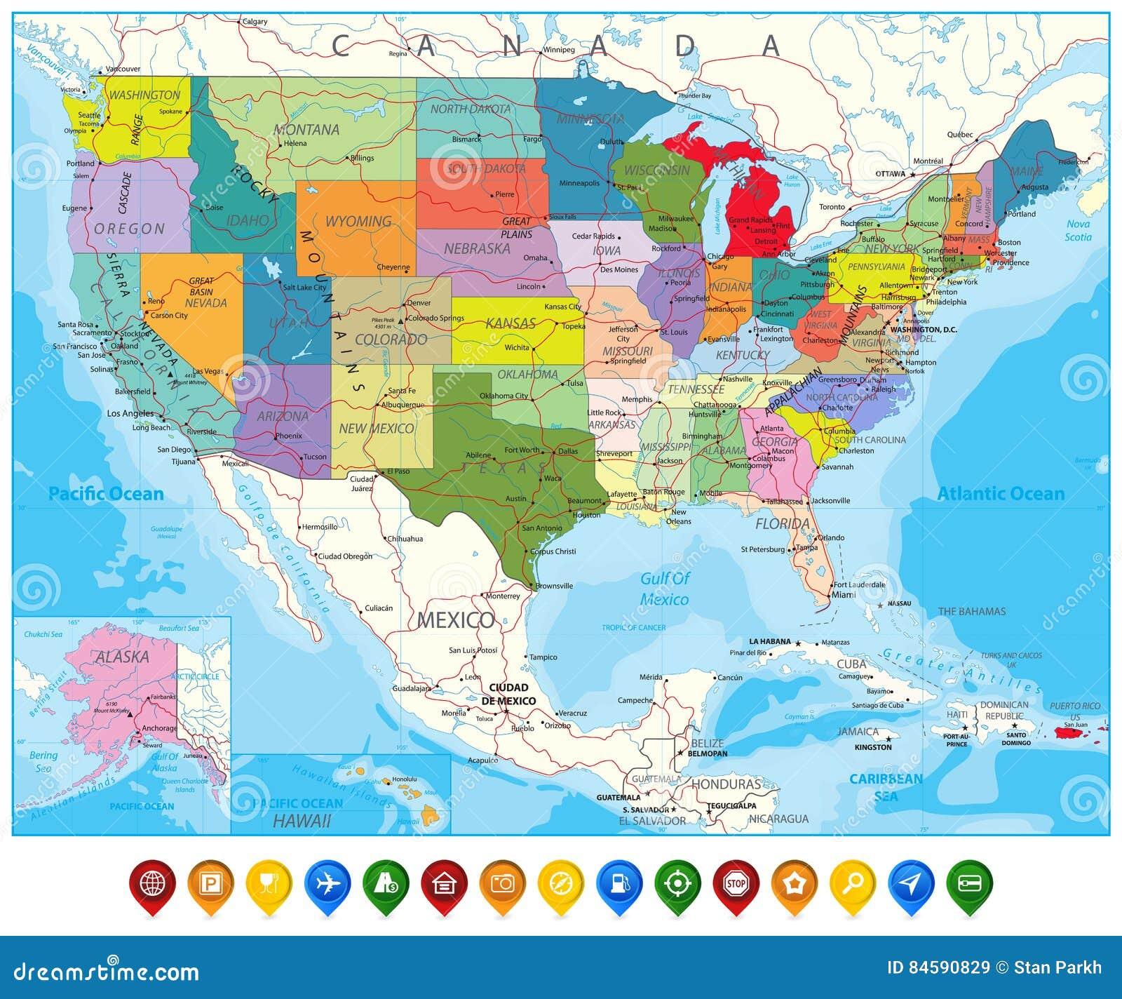 Usa Polityczna Drogowa Mapa I Mapa Pointery Ilustracja Wektor