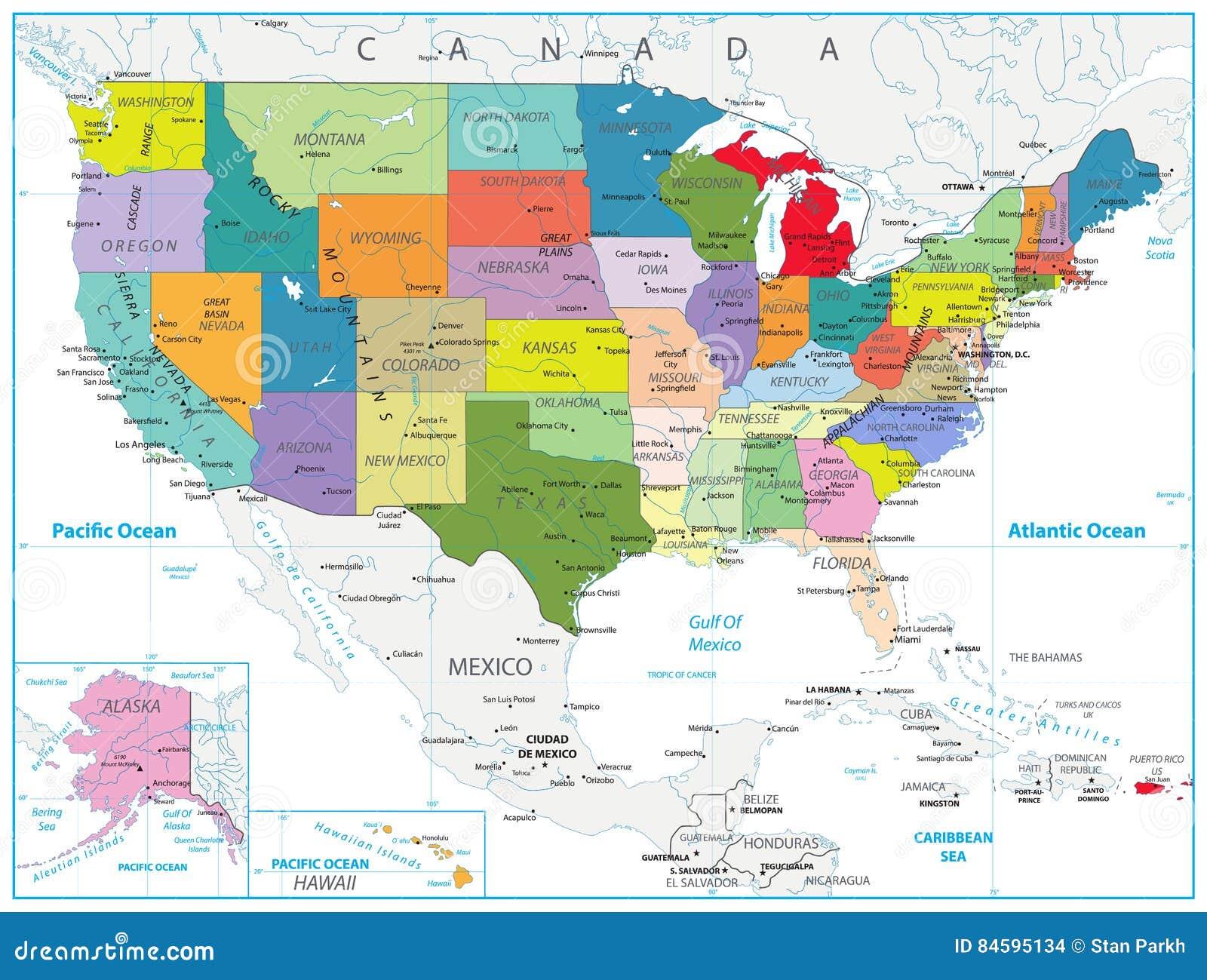 Usa Polityczna Mapa Odizolowywajaca Na Bielu Ilustracja Wektor