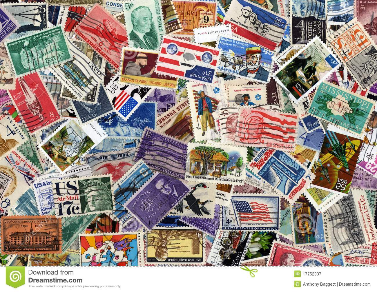 Usa Postage Stamp Collection Stock Image Image Of Global