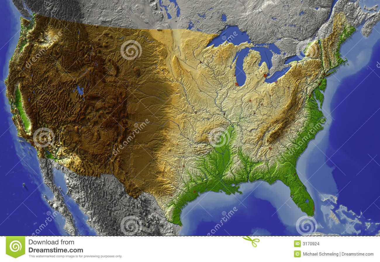 USA, relief map