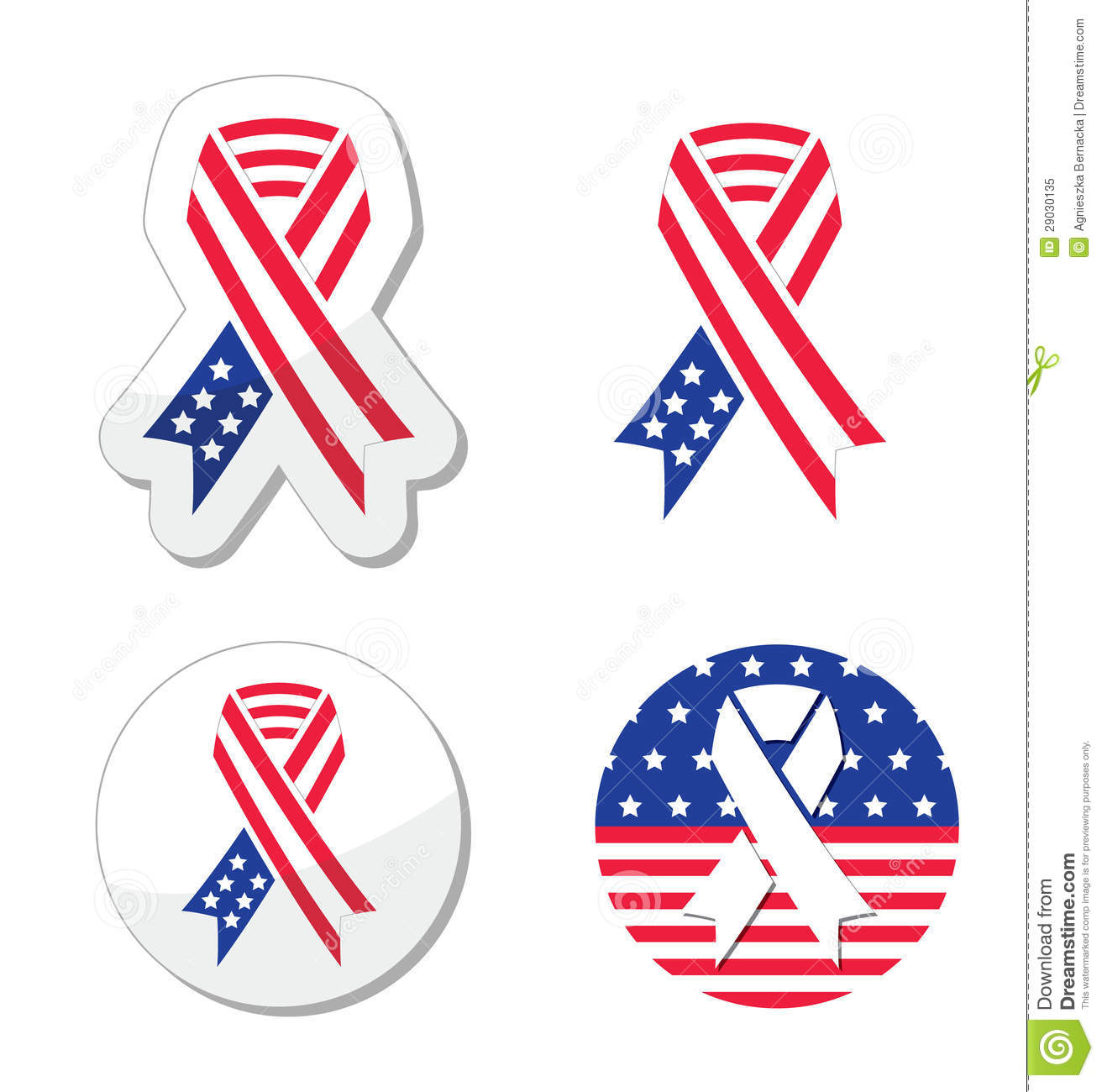 Usa Ribbon Flag Symbol Of Patriotism The Victims And