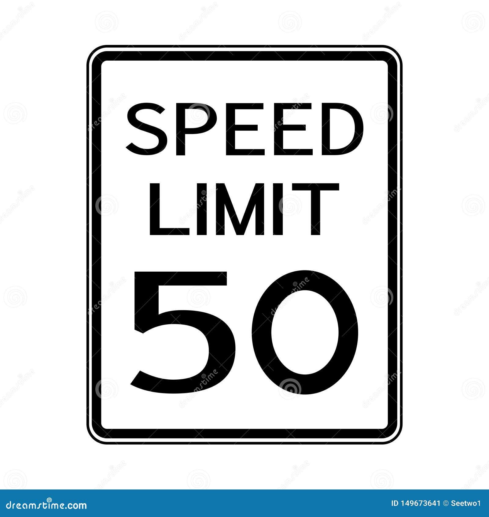 USA Road Traffic Transportation Sign: Speed Limit 50 On White Background,Vector Illustration